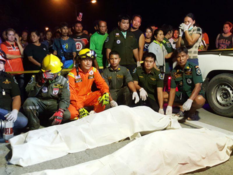 สุพรรณบุรี สลดหัวหน้าคนงานขับกระบะพาคนงานกลับบ้านชนต้นไม้ตาย2เจ็บ6